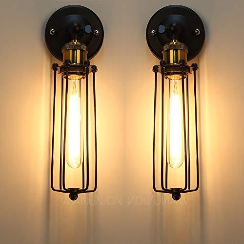2PC E27 Metallo Vintage Lampada da Parete Muro Lampada Applique da Parete Lampada Muro Interni Decorazione per Camera da Letto, Soggiorno, Bagno, Corridoio, Scale