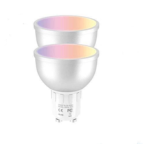 2pcs Smart Wifi LED Lampadina 5W Dimmerabile Lampada GU10 Multicolor LED Bulb Compatibile con Alexa Echo Google Home e IFTTT [Classe energetica A ++]