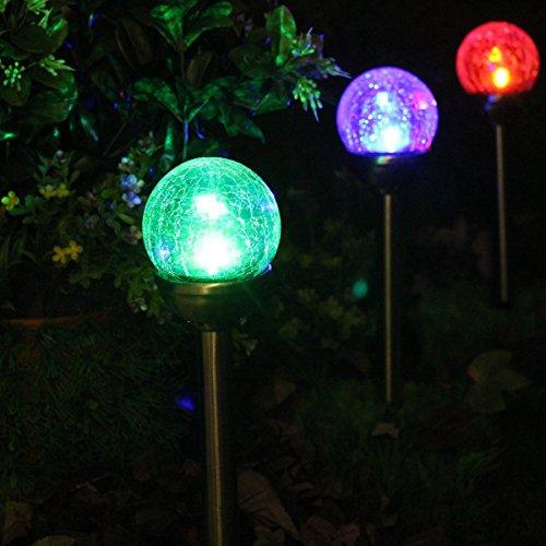 2Pezzi Lampade Solari Luci da Giardino, LED Cambiano Colore Sfere in Vetro con Effetto a Cracklè per Decorare il Giardino,Abbellire, Terrazze ed Esterni da NORDSD
