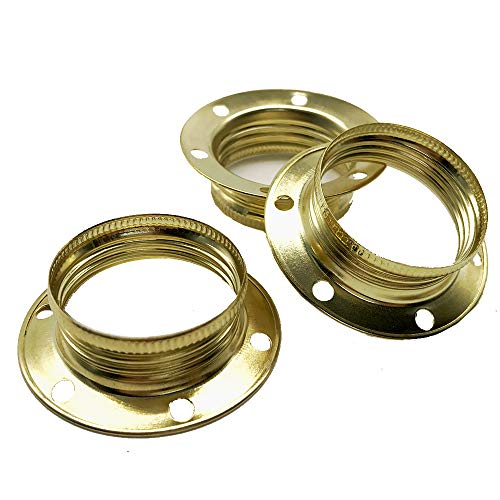 3 anelli a vite E14 in metallo color ottone per portalampada ad anello Ø 40 x 12,5 mm per paralume o elementi in vetro