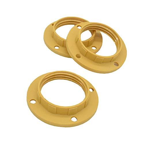 3 anelli a vite E14 in plastica color sabbia/moka / oro per portalampada con anello filettato per paralume o elementi in vetro