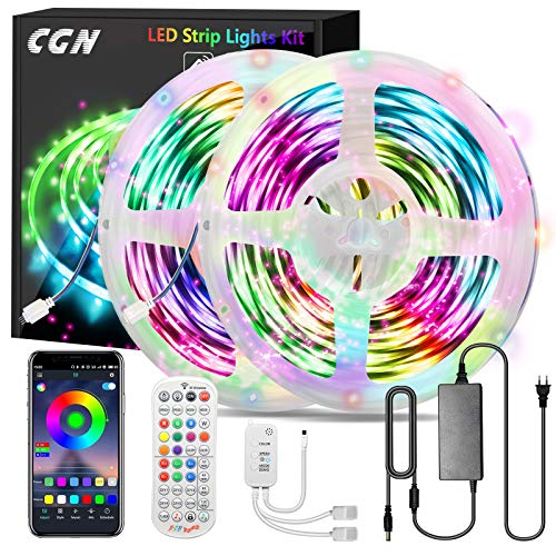 30M Striscia LED Bluetooth, CGN Striscia LED Smart Musicale RGB5050 Strisce Led Luminose Luci Multicolore con Telecomando e APP Gratuita Compatibile con Smartphone Decorazioni per Feste/Casa
