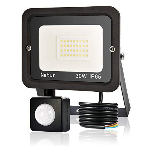 30W Faretto LED da Esterno con Sensore di Movimento, bapro Faro Led Super Luminoso 3000LM, IP65 Impermeabile Proiettore Leds, Bianco Caldo 3000K Faretto Luce Esterna per Parcheggio, Giardino, Cortile