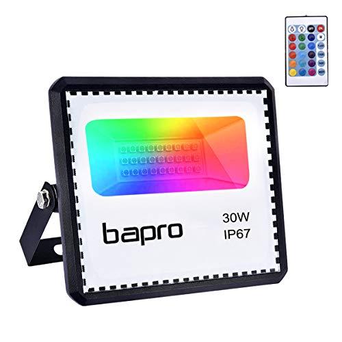 30W Faretto LED RGB Esterno Con Telecomando 16 Colori 4 Modalità Illuminazione Proiettore LED, luci di natale da esterno Impermeabile IP67, Faro per Natale Halloween Festa Giardino