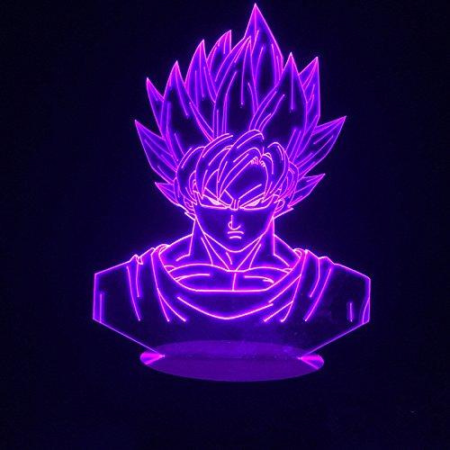3D Illusione Luci Notte Sette Dragon Ball Z Goku Lampada Notturna, LED USB Tavolo Touch Control Casa 3D Arti lampada, 7 Cambiare Colore Decor Night Light Regali