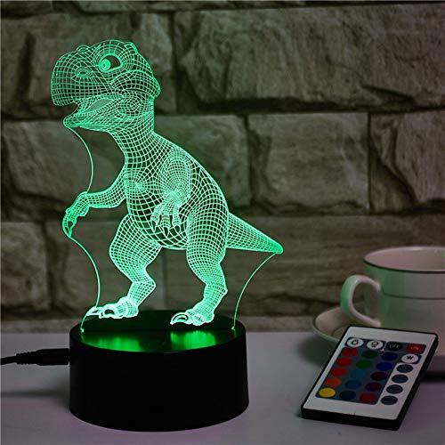 3D Illusione Ottica Luce Notturna,Dinosauro 3D Illusione Ottica Led Lampada, Lampada Illusione 3D 16 Colori Cambiano con Telecomando,per La Famiglia di Amici Dei Bambini