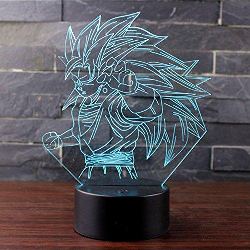 3D Lampada Illusion Optical Night Light, CKW 7 Cambia colore Touch Switch Decorazione Lampade Per comodino Bambini cameretta (Dragon ball 4)