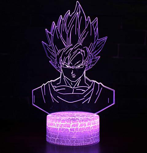 3D Lampada Illusion Optical Night Light, CKW 7 Cambia colore Touch Switch Decorazione Lampade Per comodino Bambini cameretta (Dragon ball 6)