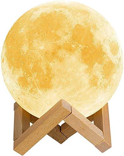 3D Lampada Luna,16 Colori luce notturna lampada 15 cm LED Luce Lunare Notturna Luminosità Regolabile Telecomando&Controllo Tattile Ricarica USB Notturna per Bambini Compleanno Natale Regali