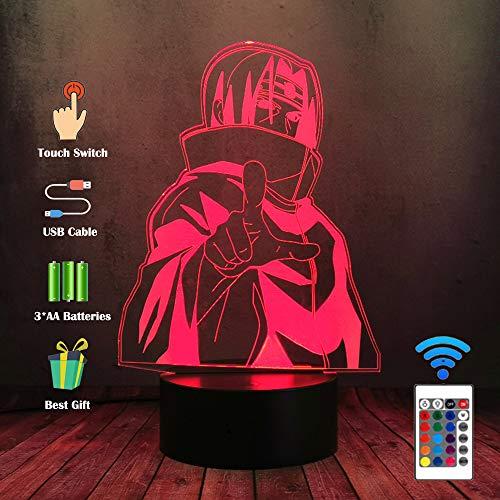 3D LED Night Light Uzumaki Naruto Sasuke Itachi Desk Lamp 16 Color Touch Remote Illusione Ottico Lampada Da Tavolo Casa Bambino Da Letto Del Bambino Sonno Mild Lampadina Vacanza Presente Arte Decor