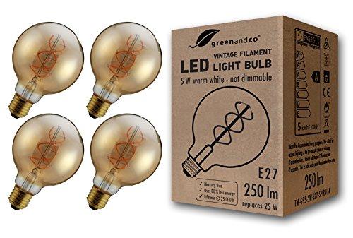 4 lampadine a filamento LED greenandco® Vintage E27 G95 5W (equivalente a 25W) 250lm 2000K (bianco caldo) 360° 230V AC Vetro, nessun sfarfallio, non dimmerabile