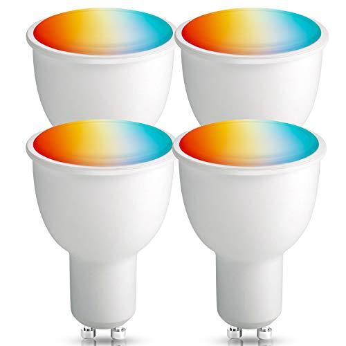 [4 Pack] Lampadina Smart Alexa GU10, BrizLabs Lampadina Wifi Intelligente 4.5W RGBW Multicolore Dimmerabile 16 Milioni di Colori Compatibile con Alexa, Google Home e IFTTT, Nessun Hub Richiesto