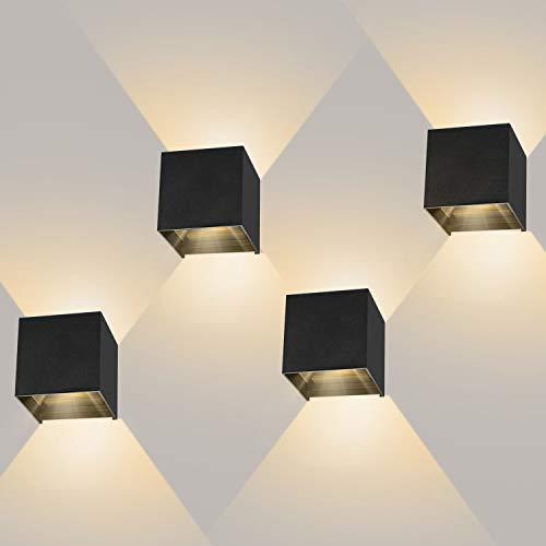 4 Pezzi 12W Lampada da Parete LED Moderno Applique da Parete interno/esterno Bianco caldo 3000K Lampada da Muro Applique cubo in alluminio IP65 Impermeabile Nero