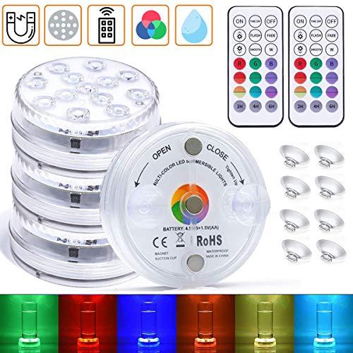 4 Pezzi LED Sommergibili Luci Piscina, 13 LEDs IP68 Impermeabile RGB Luci a Subacquee per Laghetto Telecomando, 16 Colori Lampeggiante Luminoso per Cerimonia Nuziale Partito Fish Tank Decor