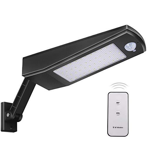 48LED 4500mAh Luce Solare 900lm IP65 Impermeabile Esterno Luci di Sicurezza con Staffa Regolabile Staffa e Telecomando,120°Sensore di Movimento a Luci Solari da Esterni per Giardino Luce Bianca Calda