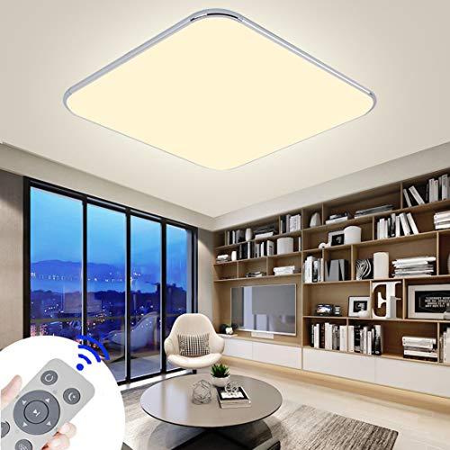 48W LED Plafoniera,Dimmerabile Ultraslim Lampada da Soffitto Telecomando e Luce Argento Camera da Letto Soggiorno Lampada Bagno Cucina Pannello Lampada (48W Dimmerabile)