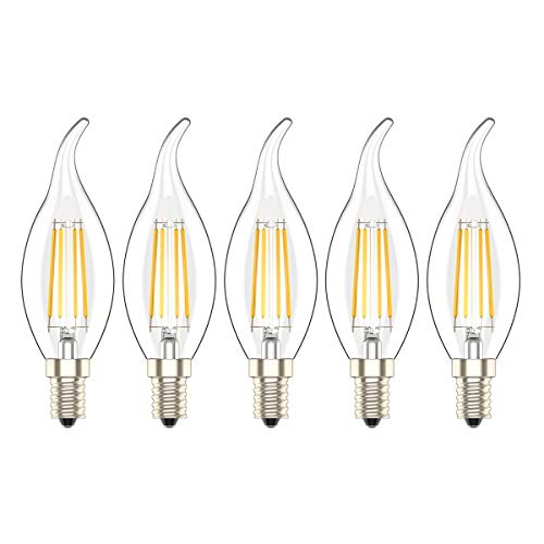 5 Pezzi Lampadina Filamento LED Dimmerabile E14 Luce Bianca Calda 2700K 4W Equivalenti a 30W,300 Lumen,AC 220V
