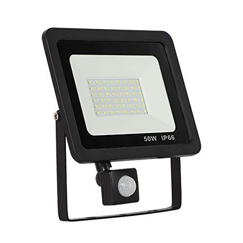50W Faretto LED da Esterno con Sensore di Movimento, Faro Super Luminoso 4000LM, IP66 Impermeabile Proiettore Leds, Bianco Freddo 6000K Faretto Luce Esterna per Parcheggio, Giardino, Cortile