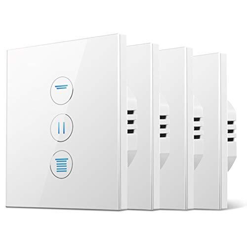 [5a Generazione] interruttore tapparelle wifi, timer per tapparelle CURRYDOUBLE con funzione percentuale, risparmio energetico, LED controllabile. Interruttore tapparelle con Alexa e Google, 86x86mm