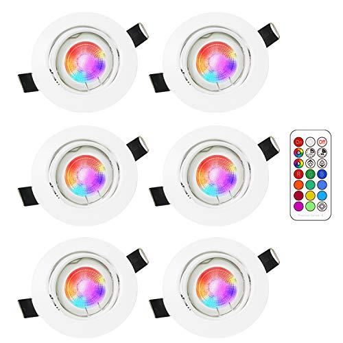 6 Pack Faretto a soffitto GU10 RGB Lengjoy Lampade dimmerabili colorate da 5W Faretto Illuminazione atmosfera Mood Illuminazione decorativa con telecomando (6Pack RGB+2700K)