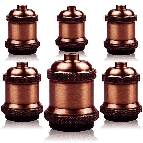 6 pezzi E27 Vintage Edison portalampada – Portalampada in ceramica portalampada lampada a sospensione lampada da soffitto adattatore illuminazione base (rosso antico Brass)