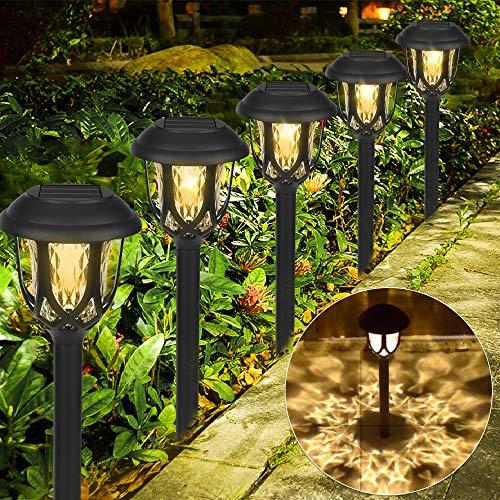 6 pezzi Lampada Solare da Giardino,LED Luci Solari Giardino Lampade da Esterno per Prato Lampade Terra IP65 Impermeabile Faretti Solari Luce,per Cortile Terrazzo Villa Vialetti Vacanza Natale