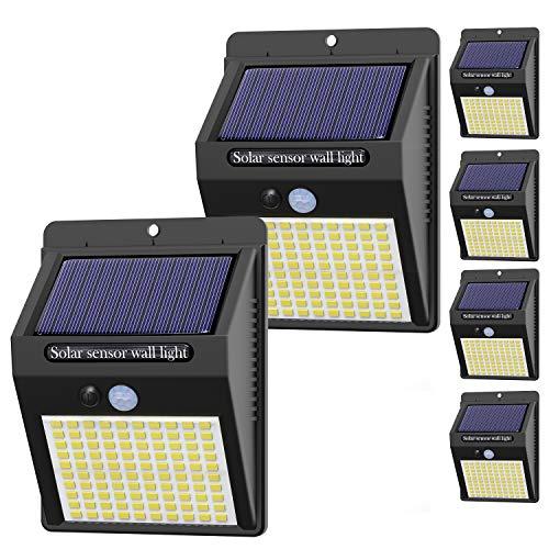 【6 Pezzi】Luce Solare Led Esterno,Hepside Faretti Solari a 100 LED da Esterno con Sensore di Movimento 180°,IP65 Impermeabile,3 Modalità Lampada Solare da Esterno per Giardino,Parete