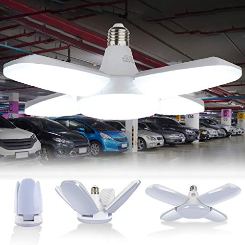 60W Lampada da Garage a LED, Deformabile Illuminazione da Garage con 4 Pannelli Regolabili, per Garage, Magazzino, Officina, Cantina, Palestra, Cucina (6500K, 6000LM, CRI80, E27)