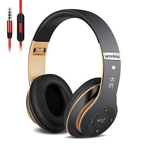 6S Over-ear Wireless Cuffie, Cuffie Wireless Bluetooth Cuffie Wireless Stereo Pieghevoli ad Alta Fedeltà, Microfono Incorporato, Micro SD/TF, FM (per iPhone/Samsung/iPad/PC) (Oro nero)