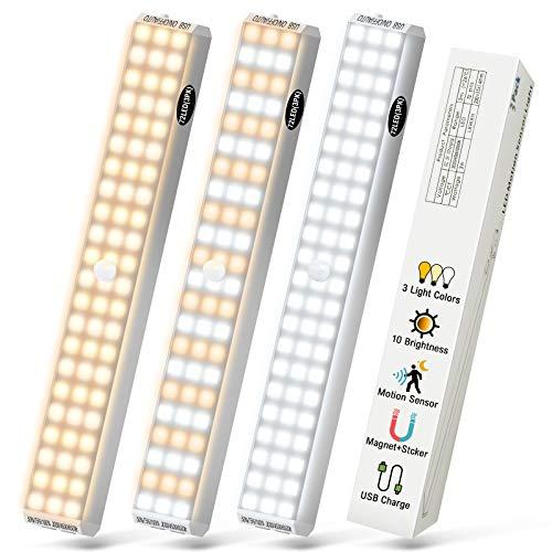 72 LED Luce per Armadio - 3 Pezzi 2000 Mah Ricaricabili Alimentate A Batteria, Armadietto da Cucina Scale Sensore Di Movimento Senza Fili 3 Luminosità, 3 Temperatura Colore