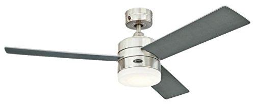 72054 Ventilatore da soffitto in acciaio inox per interni da 122 cm Alta Vista, kit di luce LED dimmerabile con vetro smerigliato opale
