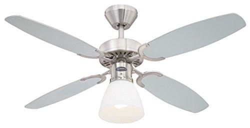 78274 Ventilatore da soffitto in acciaio spazzolato per interni Capitol 105 cm, kit di luce con vetro smerigliato opale