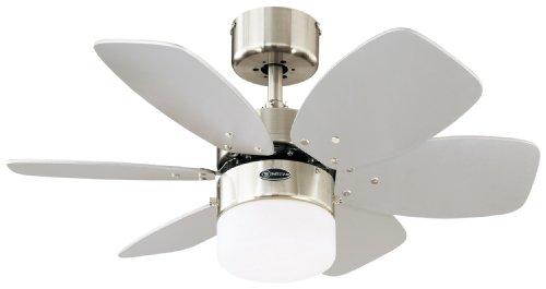 78788 Flora Royale One-Light 76 cm ventilatore a soffitto per interni a sei pale, finitura cromo satinato con vetro opalino effetto ghiaccio