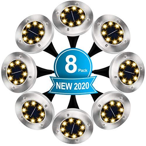 8 Pezzi Luci Solari Giardino, 8 LED Lampade da Giardino Luce Sepolta Solare in Acciaio Inox IP65 Impermeabile Luci da Terra per Esterno Prato Cortile Scala Strade Vialetto Paesaggio (Bianco Caldo)