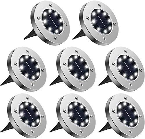 8 Pezzi Luci Solari Giardino, Luce Bianco Solari Giardino Esterno 8 LED Faretti Terra Incasso, Luce Sepolta Solare IP65 Impermeabile per Vialetto Scala Paesaggio Strade Aiuola, Terreno Cortile