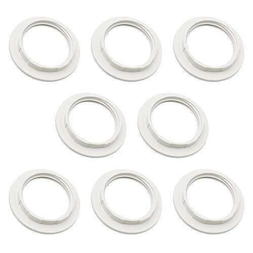 8 Pezzi Paralume Anello Riduttore in Plastica E27 Paralume Anello Convertitore per Desk Lampade Paralume (Interno 38mm) Bianco