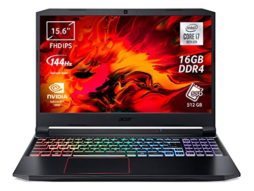 "Acer Nitro 5 AN515-55-7153 Notebook Gaming con Processore Intel Core i7-10750H, Ram 16 GB, 512 GB PCIe NVMe SSD, Display 15.6"" FHD IPS 144 Hz LED LCD, NVIDIA GeForce RTX 2060 6 GB, Windows 10 Home"