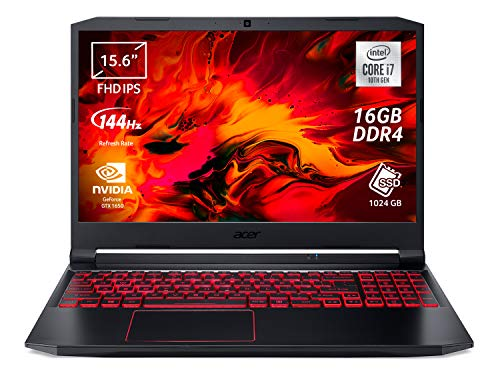 "Acer Nitro 5 AN515-55-71GL Notebook Gaming con Processore Intel Core i7-10750H, Ram 16 GB, 1024 GB PCIe NVMe SSD, Display 15.6"" FHD IPS 144 Hz LED LCD, NVIDIA GeForce GTX 1650 4 GB, Windows 10 Home"