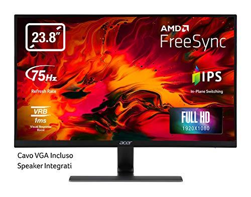 "Acer Nitro RG240Ybmiix Monitor Gaming FreeSync, 23.8"", Display IPS Full HD, 75 Hz, HDMI 1.4, VGA, 1 ms, Lum 250 cd/m2 , Audio In/Out, Speaker Integrati, Cavo VGA Incluso, Nero"
