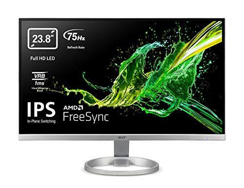 """Acer R240Ysi Monitor FreeSync, 23.8"""", Display IPS Full HD, 75 Hz, 1 ms, 16:9, VGA, HDMI 1.4, Schermo PC con Contrasto 100M:1, Lum 250 cd/m2, Zero Frame, Cavo VGA Incluso"""