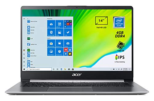 "Acer Swift 1 SF114-32-P56T Pc Portatile, Notebook con Processore Intel Pentium Silver N5000, Ram 4 GB DDR4, 128 GB SSD, Display 14"" FHD IPS LED LCD, Intel UHD 605, Windows 10 Home in S mode, Silver"