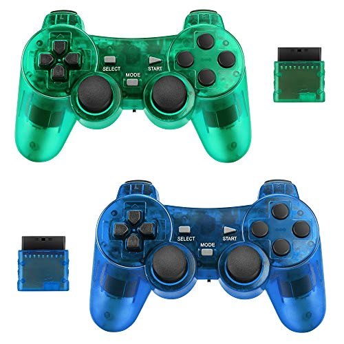 Achort Wireless Controller for PS2 Playstation 2.4G Gamepad Joystick Remote with Dual Shock Vibration Sensitive Control Wirelless Receivers (ClearBlue and ClearGreen)