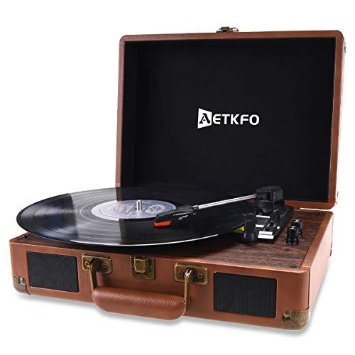 AETKFO Giradischi Vinile, Lettore Vinile, Giradischi Vinili con Casse, Giradischi Vintage Bluetooth Portatile,3 Velocità (33 1/3,45 E 78 Giri),Supporta Uscita RCA/Jack per Cuffie/3.5mm AUX-IN/MP3/USB
