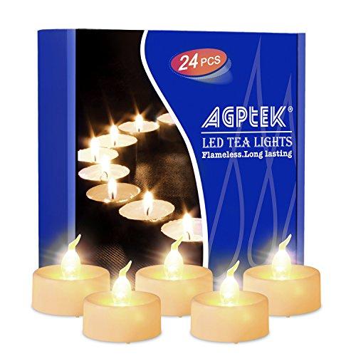 Agptek Candele LED Timer Tremolante Candele senza Fiamma LED Luce Bianca Calda per Decorazione, 24 pezzi