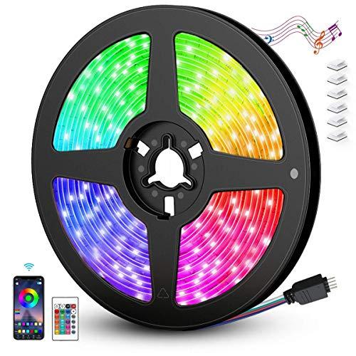 AGPTEK Striscia LED Alexa 5M WIFI Autoadesiva 5050 RGB Strisce LED Colorati o il Telecomando di 24-tasti con la Musica/Vocale per TV,Camera da letto,Decorazioni per Feste Natale[Classe A+++]