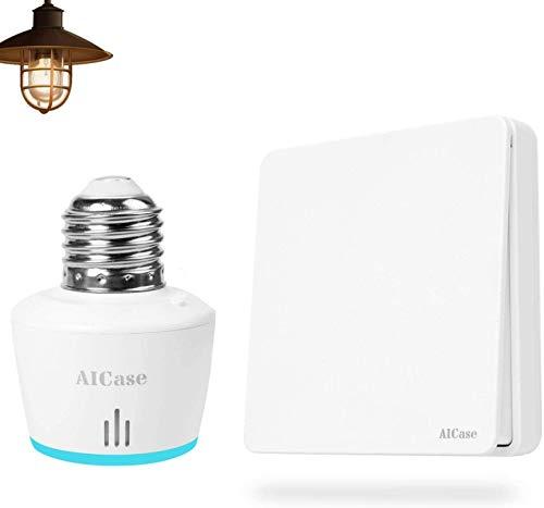 AICase Smart WiFi Portalampada E27 con Interruttore WiFi Alexa,Wireless Adattatore per LED Lampadina Funziona con Echo Alexa e Google Home Assistant,Controllo Remoto Smartphone Tramite APP