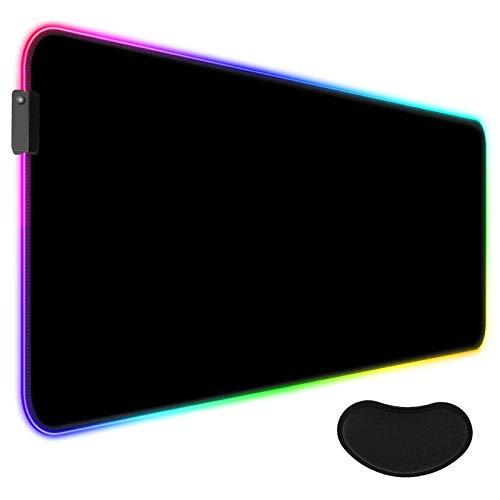 AILRINNI RGB Tappetino Mouse Gaming - XXL Tappetino per Mouse LED Grande 800x300mm con Poggiapolsi, 14 RGB Effetti Luce Mouse Pad Ergonomicoda Gioco Base di Gomma per Tastiera, Laptop - Nero