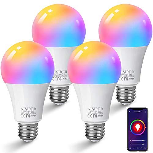 AISIRER Alexa Lampadina LED E27 Smart Wi-Fi compatibile con Amazon Alexa Echo, Echo Dot Google Home, nessun Hub necessario, Wifi RGB Light dimmerabile diversi colori e luce bianca calda (4 pezzi)