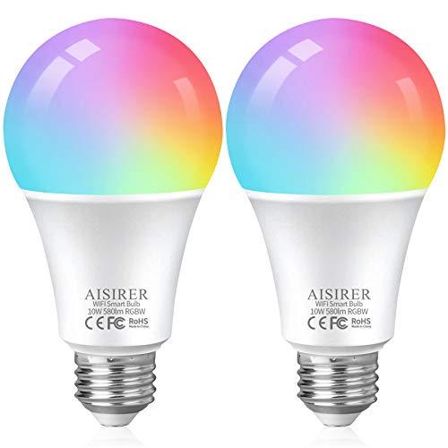 AISIRER Lampadine Alexa WiFi RGB 10W 1000 LM 90W Equivalente, Lampadina Smart E27, Dimmerabile Multicolore e Bianco Caldo,Compatibile con Siri,Alexa e Google home, Senza Hub Richiesto (2 Pezzi)