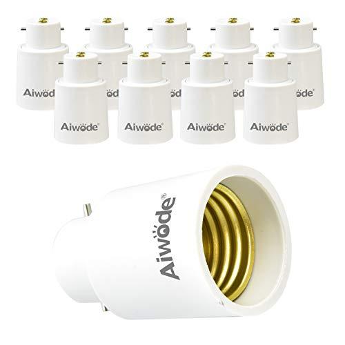 Aiwode Conversione Portalampada B22 a E27 Adattatore,B22 Portalampada per Lampadine LED e incandescenza e CFL,Potenza Massima 200W,0~250V,10 Pezzi.